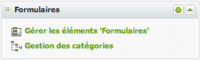 Administration du module formulaire